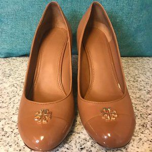 Women's Tory Burch Leather Wedge Shoes Size 9.5